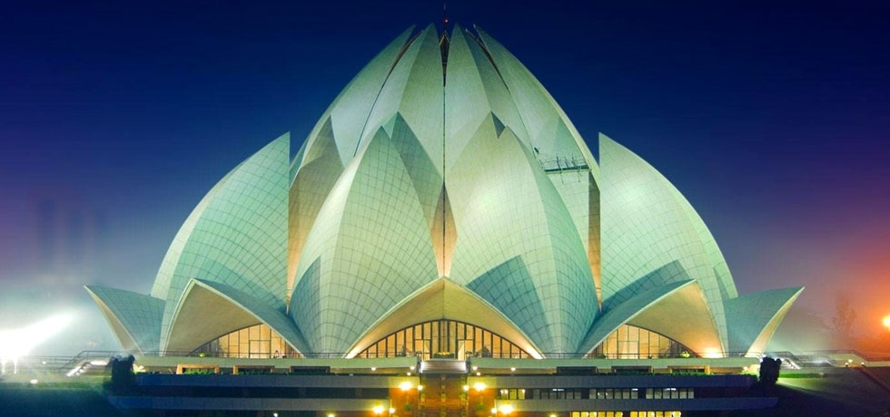 The Lotus Temple, located in New Delhi, India is a Bahá'í House of Worship notable for its flowerlike shape.