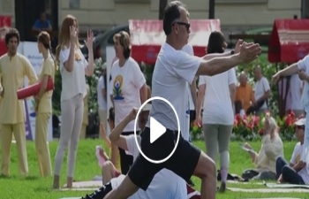 International Day of Yoga 2019, held at Tomislav Square, Zagreb at 9.30 am on 15th June 2019.