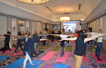Curtain Raiser Yoga event, ahead of International Day of Yoga 2019, held on 26 April in collaboration with International Women's Club Zagreb
