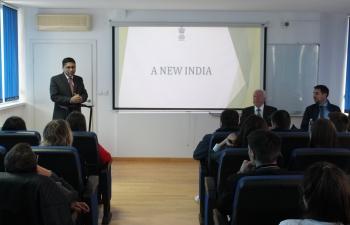 Ambassador Arindam Bagchi met with Prof. Duško Pavlović, Rector of Sveučilište Libertas - Libertas International University and held a lecture on India to undergraduate students of diplomacy on 30 May 2019