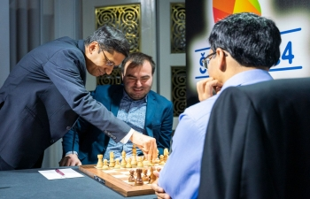 Ambassador Arindam Bagchi made the ceremonial first move in game GrandChessTour in Croatia on 5 July 2019