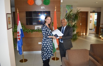 Ms. Ana Vlahov from Zagreb Innovation Centre was briefed by Mr. J.N. Majhi, Counsellor before her departure to India to join ITEC course on Women Empowerment on 8 January 2020.
