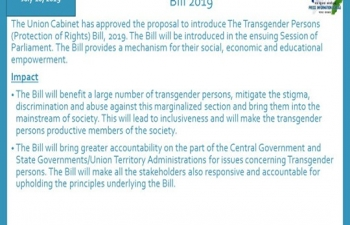 The Transgender Persons (Protection of Rights) Bill 2019 provides a mechanism for their social, economic and educational empowerment