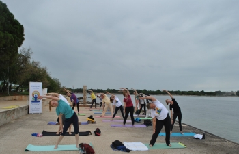 International Day of Yoga celebration in Umag, Croatia on 21 June 2020