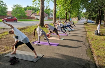 International Day of Yoga celebration in Slatina, Croatia on 18 June 2020