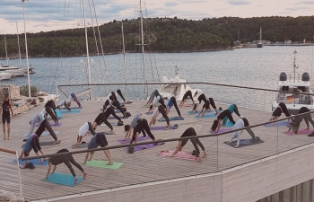 International Day of Yoga celebration in Sibenik, Croatia on 21 June 2020
