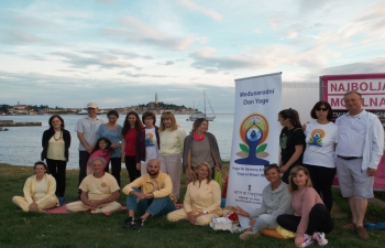 International Day of Yoga celebration in Rovinj, Croatia on 21 June 2020