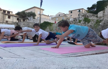 International Day of Yoga celebration in Rab, Croatia on 22 June 2020