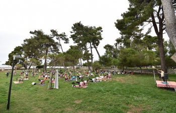International Day of Yoga celebration in Novigrad, Croatia on 21 June 2020
