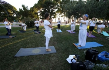 International Day of Yoga celebration in Makarska, Croatia on 27 June 2020