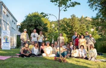 International Day of Yoga celebration in Labin, Croatia on 20 June 2020