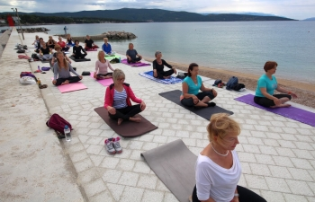 International Day of Yoga celebration in Krk, Croatia on 20 June 2020