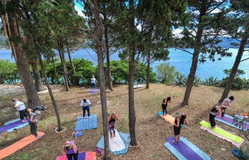 International Day of Yoga celebration in Korcula, Croatia on 21 June 2020