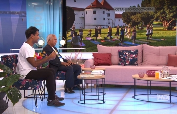 Cd'A a.i. Mr. J. N. Majhi and TIC joining prime-time Good Morning show on International Day of Yoga in Croatian national TV HRT