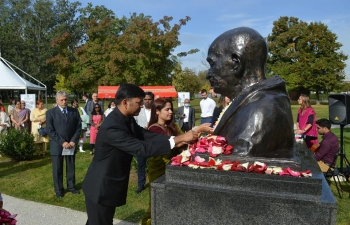 Gandhi Jayanti celebrations at Mahatma Gandhi Bust, Bundek Park in Zagreb on the 2nd October, 2020. The event started with a peace march, followed by short remarks by Ambassador H.E. Mr. Raj Kumar Srivastava & H.E. Mr. Dražen Margeta, Head of Indian Affairs at the Ministry of Foreign and European Affairs, Croatia.
