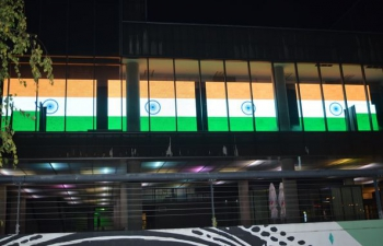Digital display of Indian National Flag on the building of Museum of Contemporary Arts, Zagreb to commemorate 151st birth anniversary of Mahatma Gandhi from 28 Sept to 04 Oct