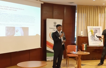 "Lecture-presentation by Prof. Darko Zubrinic on ""Mahatma Gandhi and Kristian Krekovic: Connecting India and Croatia"". H.E. Ambassador Raj Kumar Srivastava spoke at the event."