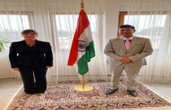 H.E. Ambassador Raj Kumar Srivastava met with Ms. Damjana Domanovac, Director of International tourism fair PLACE2GO to discuss on strengthening India-Croatia tourism ties.