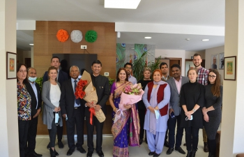 Small celebration with the members of Embassy of India, Zagreb after the presentation of credentials by H.E. Ambassador Raj Kumar Srivastava to the Hon'ble President of the Republic of Croatia.