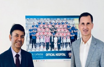 H.E. Ambassador Raj Kumar Srivastava met with Mr. Dragan Primorac, Member of Croatian PM's Scientific Advisory Board in his office at St Catherine Hospital to discuss ideas for strengthening India-Croatia partnership