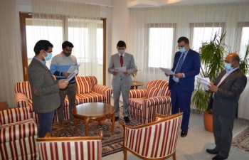 Constitution Day was celebrated in the Embassy of India, Zagreb. H.E. Ambassador Raj Kumar Srivastava, along with other officers, read out the Preamble to the Constitution of India.