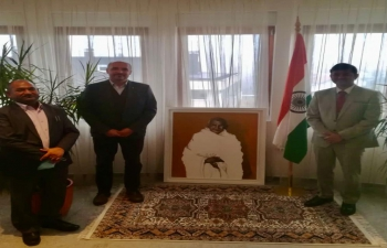 """Prof. Tomislav Buntak, dean of Academy of Fine Arts met with H.E. Ambassador Raj Kumar Srivastava and discussed India-Croatia collaboration in the field of art and culture, including the Mahatma Gandhi painting on the occasion of """"150 birth anniversary of Mahatma Gandhi"""