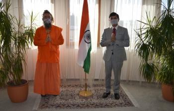 H.E. Ambassador Raj Kumar Srivastava meets with representative of Bhakti Marga Hrvatska association