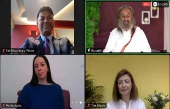 H.E. Ambassador Raj Kumar Srivastava joins wonderful online Meditation session by Sri Sri Ravishankar ji with over 200 members of Art of Living Croatia