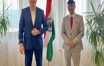 H.E. Ambassador Raj Kumar Srivastava met Mr. Saša Cvetojević, Entrepreneur & Investor and discussed new areas of ️India-Croatia futuristic TIES driven by talent & technology, intellect & innovation, entrepreneurship & engagement, and speed & scale.