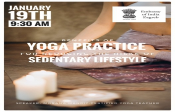 """1st #Yoga Online Session about the """"Benefits of Yoga Practice for Reducing the Risks of Sedentary Lifestyle"""" with remarks of Ambassador H.E. Raj Kumar Srivastava, was organized on 20 January 2021."""