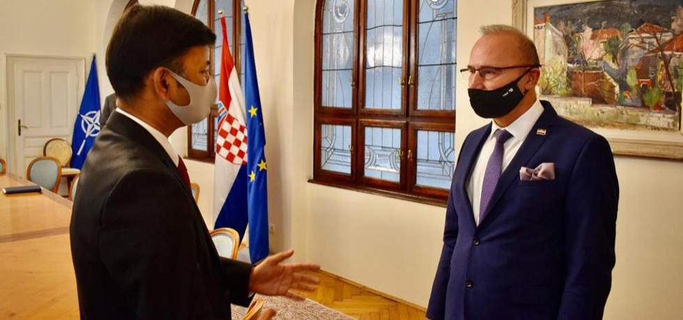 Ambassador Raj Kumar Srivastava interacting with H.E. Mr. Gordan Grlic Radman, Minister of Foreign and European Affairs of Croatia
