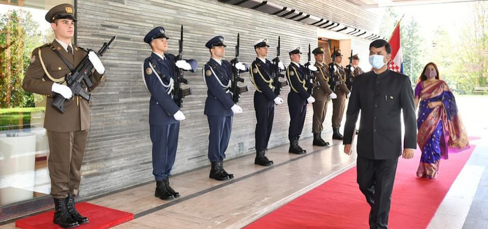 Display of Guard of Honour to Ambassador Raj Kumar Srivastava during his arrival for presentation of credentials