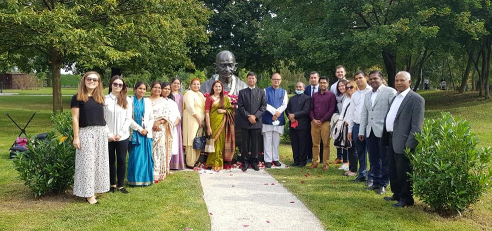 Members of the Embassy near Mahatma Gandhi Bust, Bundek Park, Zagreb on Gandhi Jayanti 2020