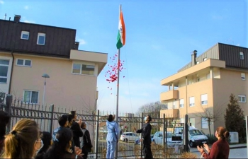 Glimpses of the flag hoisting ceremony and gathering of Indian nationals & friends of India ️for the 72nd Republic Day at the Embassy of India, Zagreb