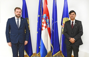 H.E. Ambassador Raj Kumar Srivastava made a courtesy call on Croatian Minister of Defence H.E. Mr. Mario Banožić to discuss India & Croatia Defence Cooperation including in the field of cyber security, counter-terrorism, natural disaster response mechanisms, defence tech and training. They also exchanged experiences in the fight against COVID-19.
