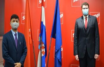 H.E. Ambassador Raj Kumar Srivastava made a courtesy call on Mr. Pedja Grbin, Member of Parliament & President of SDP Hrvatske.