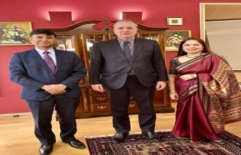 H.E. Ambassador Raj Kumar Srivastava received @ India House in Zagreb, State Secretary for Political Affairs H.E. Mr. Frano Matušić, Ministry of Foreign and European Affairs of Croatia. They exchanged ideas for stronger India-Croatia partnership