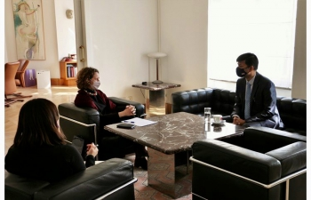 H.E. Ambassador Raj Kumar Srivastava called on Minister of Culture of Croatia H.E. Ms. Nina Obuljen Korzinek and exchanged ideas for promoting India-Croatia cultural ties. Music, dance, films, theatre, literature, Yoga, Ayurveda all that strengthen #P2P ties would be focus of celebrations of 30 yrs of India-Croatia relations & #India@75 in 2022