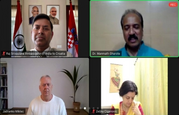 Ancient wisdom of Yoga was shared by Dr. Manmath Manohar Gharote, Director of Lonavla Yoga Institute at Embassy AYUSH Cell's fortnightly online session with participation of H.E. Ambassador Raj Kumar Srivastava, Yogacharya Jadranko Miklec & others from Croatia. Prevention, Promotion & Cure will increase the Mental & Physical condition of the people. But Emotional, Social & Spiritual aspects of human existence were also highlighted to be important in equal measures.