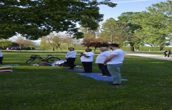 Glimpses from the the 1st Open Yoga Session held at Bundek Park, organised by the Embassy of India, Zagreb, with the support of the City of Zagreb & the Zagreb Tourist Board. The event was inaugurated by Mr. Manohar Lal, Head of Chancery & led by Yogacharya Mr. Jadranko Miklec.