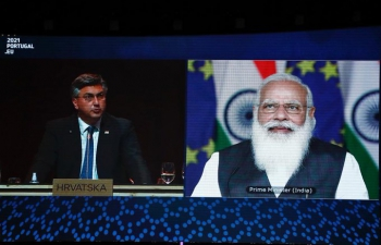 """Hon'ble Prime Minister of Croatia Mr. Andrej Plenković said """"At the EU-India Summit, we have expressed our solidarity with India in the context of the fight against the consequences of #COVID19. We are building a strategic partnership with India on strengthening economic cooperation & jointly combating the climate change, the digital transition and global security""""."""