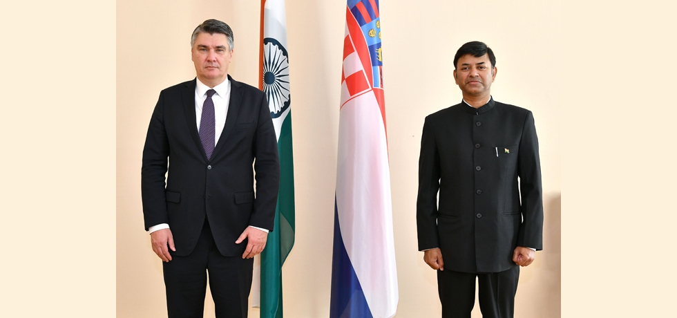 Ambassador of India to Croatia Mr. Raj Kumar Srivastava presented his credentials to the Hon'ble President of the Republic of Croatia, Mr. Zoran Milanović at the Presidential Office on Wednesday, October 14, 2020