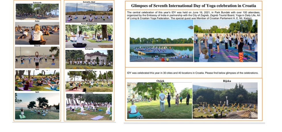 7th International Day of Yoga 2021 celebrations in 40 cities across Croatia