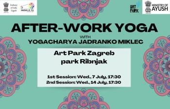 The complementary After-work Yoga sessions were held at 17:30 hrs on 07 and 14 July 2021, at Art Park Ribnjak (green area by the Art park), led by certified Yoga instructor Jadranko Miklec (Yogacharya)