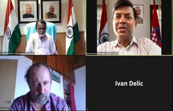 Virtual meeting between Lalit Kala Akademi & Akademija likovnih umjetnosti (Academy of Fine Arts in Zagreb), in connection with #Indiaat75 & #30yearsofdiplomaticrelations of India & Croatia. The two premium institutions discussed joint future endeavours & agreed on to pursue a broad based collaboration in the fields of fine arts