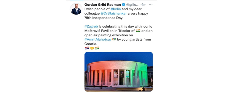 Foreign and European Affairs Minister of Croatia H.E. Mr.<br> Gordan Grlić Radman wished a very Happy 75th Independence Day to the<br> people of India and Dr. S. Jaishankar, Minister of External Affairs of India