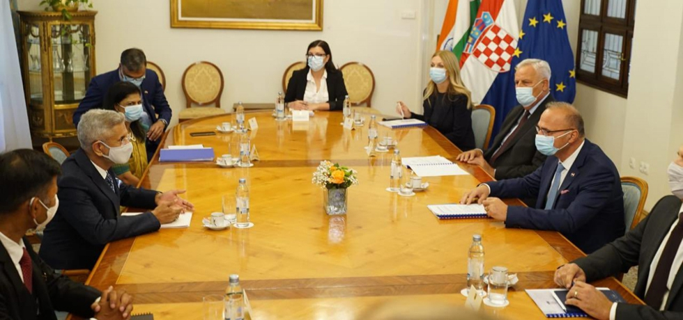 The Indian delegation led by Hon'ble EAM Dr. S. Jaishankar in a bilateral meeting with his Croatian counterpart H.E. Mr. Gordan Grlić Radman in Zagreb on 3rd September 2021