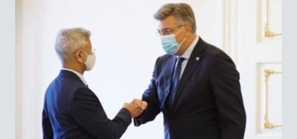 Hon'ble Minister of External Affairs of India Dr. S. Jaishankar meeting Hon'ble Prime Minister of Croatia H.E. Andrej Plenković during his visit to Zagreb on 3rd September 2021