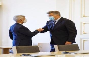 Hon'ble External Affairs Minister of India Dr. S Jaishankar met Prime Minister of Croatia H.E. Mr. Andrej Plenković on 3 September 2021.