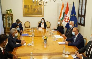 The delegation led by Hon'ble External Affairs Minister of India Dr. S. Jaishankar meeting with Croatia's Foreign Minister H.E. Mr. Gordan Grlić Radman.